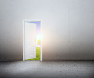 Ανοιχτή πόρτα σε έναν νέο κόσμο, το πράσινο θερινό τοπίο. Εννοιολογικός Στοκ Φωτογραφία