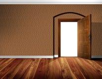 Ανοιχτή πόρτα, τοίχος ταπετσαριών, ξύλινο πάτωμα Στοκ φωτογραφία με δικαίωμα ελεύθερης χρήσης