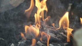 Ανοιχτό κόκκινο - καυτός στενός επάνω πυρκαγιάς ξυλάνθρακα screensaver απόθεμα βίντεο