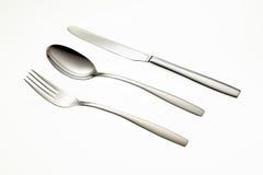 Ανοξείδωτα δίκρανο, κουτάλι και μαχαίρι Στοκ Εικόνες