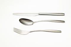 Ανοξείδωτα δίκρανο, κουτάλι και μαχαίρι Στοκ εικόνες με δικαίωμα ελεύθερης χρήσης