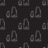 Αντέξτε πολικών αρκουδών τον άνευ ραφής σχεδίων απομονωμένο υπόβαθρο Μαύρο ταπετσαριών Doodle διανυσματικό Στοκ φωτογραφίες με δικαίωμα ελεύθερης χρήσης
