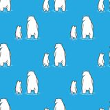 Αντέξτε πολικών αρκουδών το άνευ ραφής σχεδίων απομονωμένο υπόβαθρο μπλε ταπετσαριών Doodle διανυσματικό Στοκ Εικόνες