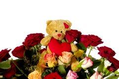αντέξτε τα τριαντάφυλλα teddy στοκ φωτογραφία με δικαίωμα ελεύθερης χρήσης