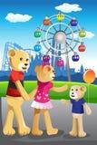 Αντέξτε την οικογένεια που έχει τη διασκέδαση στο λούνα παρκ διανυσματική απεικόνιση