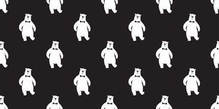 Αντέξτε τον άνευ ραφής σχεδίων διανυσματικό panda πολικών αρκουδών τόξων Μαύρο ταπετσαριών υποβάθρου δεσμών απομονωμένο teddy διανυσματική απεικόνιση