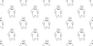 Αντέξτε το άνευ ραφής panda πολικών αρκουδών σχεδίων που ο διανυσματικός δεσμός τόξων που απομονώνεται επαναλαμβάνει τα κινούμενα ελεύθερη απεικόνιση δικαιώματος