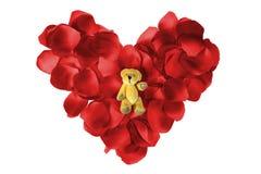 αντέξτε το πέταλο καρδιών teddy Στοκ φωτογραφία με δικαίωμα ελεύθερης χρήσης