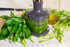 Αντέξτε το σκόρδο, προετοιμάζοντας το peasto Στοκ Εικόνα