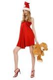 αντέξτε το santa αρωγών teddy Στοκ φωτογραφία με δικαίωμα ελεύθερης χρήσης