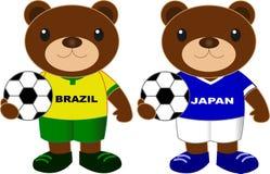 Αντέχει τη ομάδα ποδοσφαίρου Βραζιλία Ιαπωνία Στοκ φωτογραφίες με δικαίωμα ελεύθερης χρήσης
