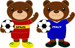 Αντέχει τη ομάδα ποδοσφαίρου Ισπανία Ιταλία Στοκ εικόνα με δικαίωμα ελεύθερης χρήσης
