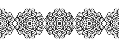 Δαντέλλα μαύρη σκιαγραφία Άνευ ραφής σχέδιο της στρογγυλής διακόσμησης Snowflakes διάνυσμα Στοκ εικόνα με δικαίωμα ελεύθερης χρήσης