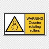 Αντίθετη περιστρεφόμενη ετικέτα σημαδιών κυλίνδρων προειδοποίησης συμβόλων στο διαφανές υπόβαθρο ελεύθερη απεικόνιση δικαιώματος
