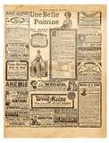 Αντίκα σελίδων εφημερίδων που διαφημίζει το χρησιμοποιημένο υπόβαθρο εγγράφου στοκ φωτογραφία