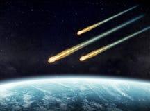 Αντίκτυπος μετεωριτών σε έναν πλανήτη στο διάστημα διανυσματική απεικόνιση