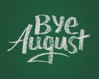 Αντίο τον Αύγουστος, διανυσματικό του κείμενο κιμωλίας στον πράσινο πίνακα Στοκ φωτογραφία με δικαίωμα ελεύθερης χρήσης