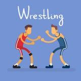 Αντίπαλος αθλητικός ανταγωνισμός δύο παλαιστών πάλης απεικόνιση αποθεμάτων