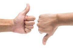 Αντίχειρας επάνω και αντίχειρας κάτω από τα σημάδια χεριών που απομονώνονται στο λευκό 1 Στοκ φωτογραφία με δικαίωμα ελεύθερης χρήσης