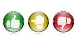 Αντίχειρας επάνω και αντίχειρας κάτω από τα κουμπιά επίσης corel σύρετε το διάνυσμα απεικόνισης Στοκ Εικόνες