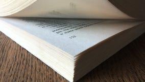 Αντίχειρας μέσω των σελίδων του βιβλίου Άποψη γωνίας closeup απόθεμα βίντεο