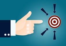 Αντίχειρας του επιχειρηματία που δείχνει το στόχο στοκ εικόνες με δικαίωμα ελεύθερης χρήσης