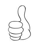 Αντίχειρας χεριών επάνω στο διανυσματικό σχέδιο εικονιδίων συμβόλων κινούμενων σχεδίων Όμορφο illus Στοκ εικόνα με δικαίωμα ελεύθερης χρήσης