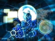 Αντίχειρας Cyber που δείχνει την τρισδιάστατη απεικόνιση οθόνης Στοκ εικόνα με δικαίωμα ελεύθερης χρήσης