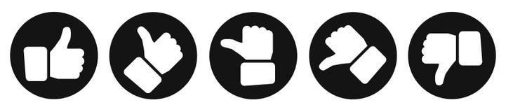 Αντίχειρες αξιολόγησης, μαύρα κουμπιά - διάνυσμα διανυσματική απεικόνιση