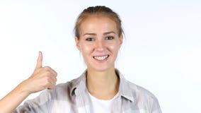 Αντίχειρες επάνω από τη γυναίκα σπουδαστή Στοκ εικόνες με δικαίωμα ελεύθερης χρήσης