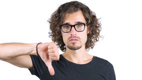 Αντίχειρες κάτω από το άτομο στα γυαλιά Στοκ Εικόνες