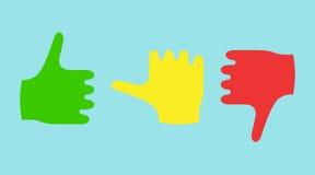 Αντίχειρες χρώματος που παρουσιάζουν συγκινήσεις διανυσματική απεικόνιση