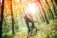 Ανταγωνισμός ιχνών βουνών, ποδηλάτης που αποδίδει στο ποδήλατο βουνών στοκ εικόνα