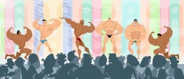 Ανταγωνισμός μεταξύ των bodybuilders διανυσματική απεικόνιση