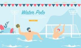 Ανταγωνισμός πόλο νερού ή κατάρτιση με τους αθλητικούς τύπους διανυσματική απεικόνιση