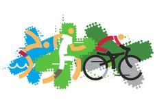 Ανταγωνιστές Triathlon διανυσματική απεικόνιση