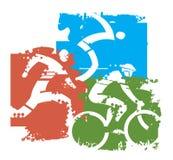 Ανταγωνιστές Triathlon grunge τυποποιημένοι ελεύθερη απεικόνιση δικαιώματος