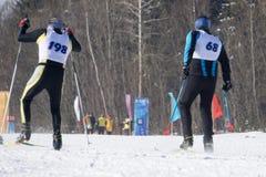 Ανταγωνιστείτε κατά τη διάρκεια των ευρωπαϊκών ανταγωνισμών φλυτζανιών ελεύθερης κολύμβησης και σκι στοκ φωτογραφία