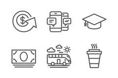 Ανταλλαγή δολαρίων, ταξίδι λεωφορείων και εικονίδια χρημάτων μετρητών καθορισμένες Smartphone sms, βαθμολόγηση ΚΑΠ και take-$l*aw ελεύθερη απεικόνιση δικαιώματος