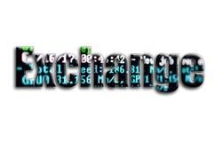 ανταλλαγή Η επιγραφή έχει μια σύσταση της φωτογραφίας, η οποία απεικονίζει την οθόνη λογισμικού μεταλλείας cryptocurrency ελεύθερη απεικόνιση δικαιώματος