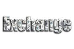 ανταλλαγή Η επιγραφή έχει μια σύσταση της φωτογραφίας, η οποία απεικονίζει πολλούς λογαριασμούς αμερικανικών δολαρίων στοκ φωτογραφία με δικαίωμα ελεύθερης χρήσης