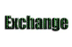 ανταλλαγή Η επιγραφή έχει μια σύσταση της φωτογραφίας, η οποία απεικονίζει τα πράσινα σύμβολα δυσλειτουργίας διανυσματική απεικόνιση