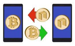 Ανταλλαγή μεταξύ του bitcoin και νεω στο τηλέφωνο διανυσματική απεικόνιση