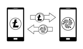 Ανταλλαγή μεταξύ του litecoin και του γιώτα στο τηλέφωνο διανυσματική απεικόνιση