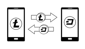 Ανταλλαγή μεταξύ του litecoin και της εξόρμησης στο τηλέφωνο απεικόνιση αποθεμάτων