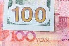 Ανταλλαγή νομίσματος μεταξύ της Κίνας και της Αμερικής, που κλείνουν επάνω 100 ΗΠΑ στοκ φωτογραφία με δικαίωμα ελεύθερης χρήσης
