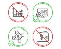 Ανταλλαγή πληρωμής, πλοκή σημείων και εικονίδια στατιστικών εκθέσεων καθορισμένες Σημάδι πορτοφολιών δολαρίων r ελεύθερη απεικόνιση δικαιώματος