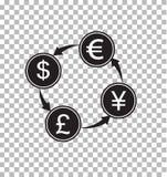 Ανταλλαγή χρημάτων διαφανής τα χρήματα μετατρέπουν το σημάδι ελεύθερη απεικόνιση δικαιώματος