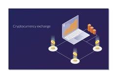Ανταλλαγή Cryptocurrency και blockchain isometric σύνθεση Αναλυτές και διευθυντές που εργάζονται crypto στο ξεκίνημα στοκ φωτογραφίες
