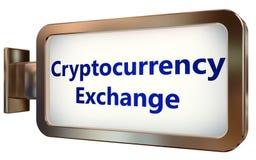 Ανταλλαγή Cryptocurrency στο υπόβαθρο πινάκων διαφημίσεων
